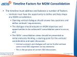 timeline factors for m2m consolidation