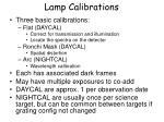 lamp calibrations