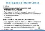 the registered teacher criteria