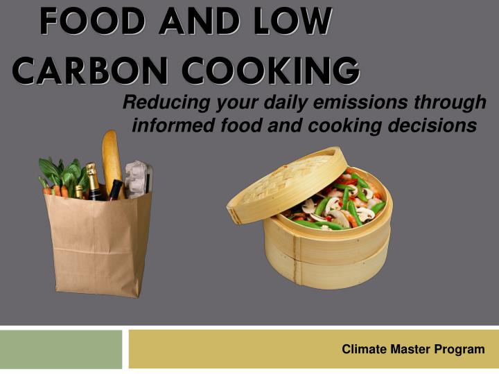 food and low carbon cooking n.