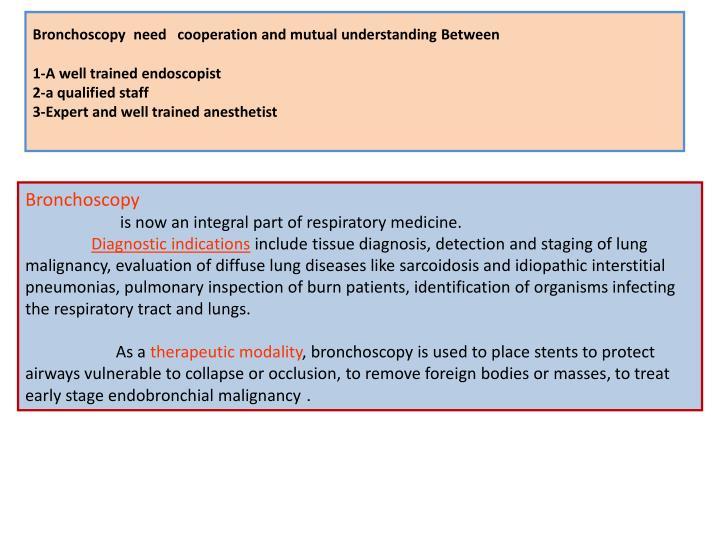 Bronchoscopy  need   cooperation and mutual understanding Between
