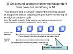 2 on demand segment monitoring independent from proactive monitoring of me