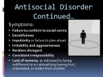 antisocial disorder continued