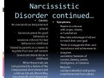 narcissistic disorder continued