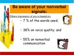 be aware of your nonverbal signals