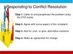 responding to conflict resolution