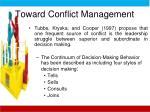 toward conflict management