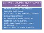 eventos mundiales que afectan a el salvador