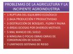 problemas de la agricultura y la incipiente agroindustria