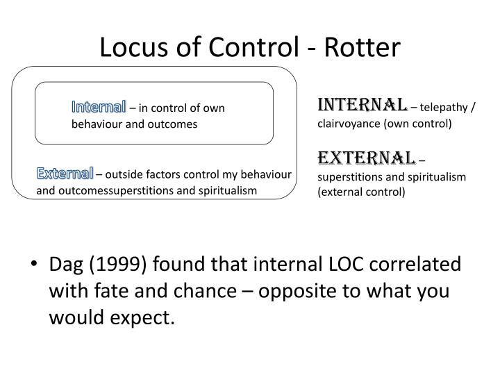 internal locus of control Locus of control means where people see their feelings as coming from, what they see as the cause of them most people have an external locus of control.