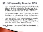 301 9 personality disorder nos