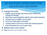 iii factors affecting the financing decision