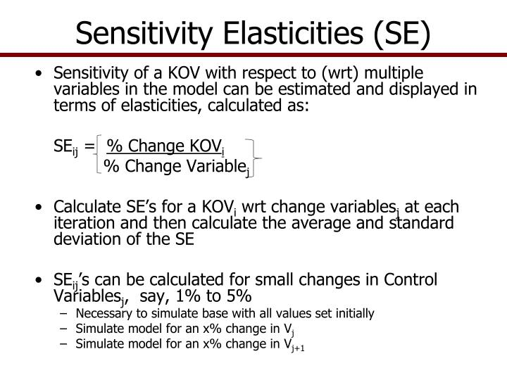 Sensitivity Elasticities (SE)