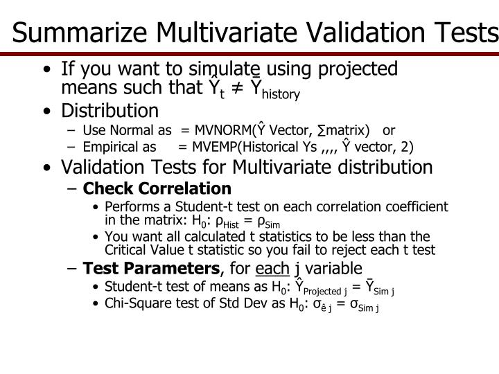 Summarize Multivariate Validation Tests