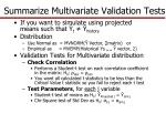 summarize multivariate validation tests1