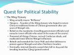 quest for political stability
