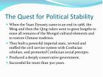 the quest for political stability