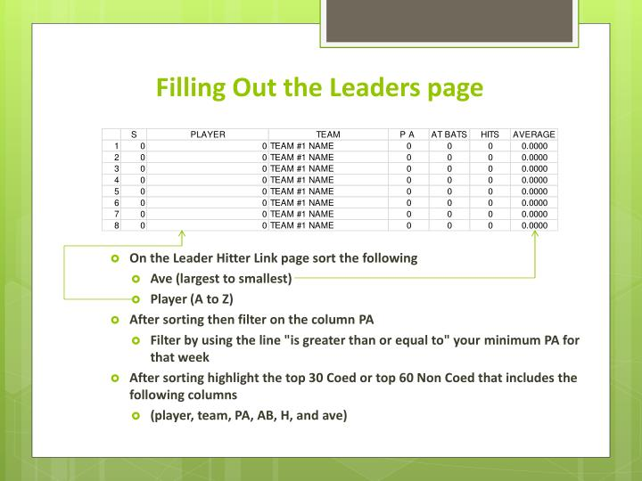 Filling Out the Leaders page