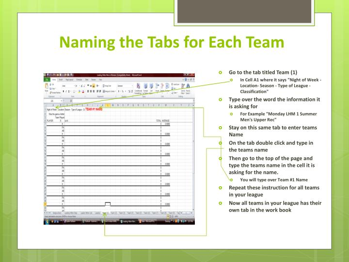 Naming the Tabs for Each Team