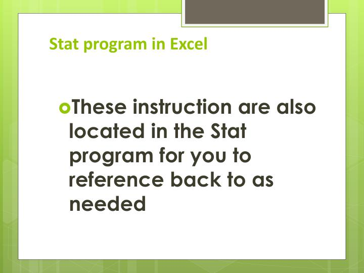 Stat program in Excel