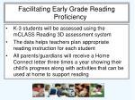 facilitating early grade reading proficiency
