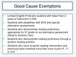 good cause exemptions