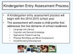 kindergarten entry assessment process