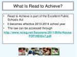 what is read to achieve