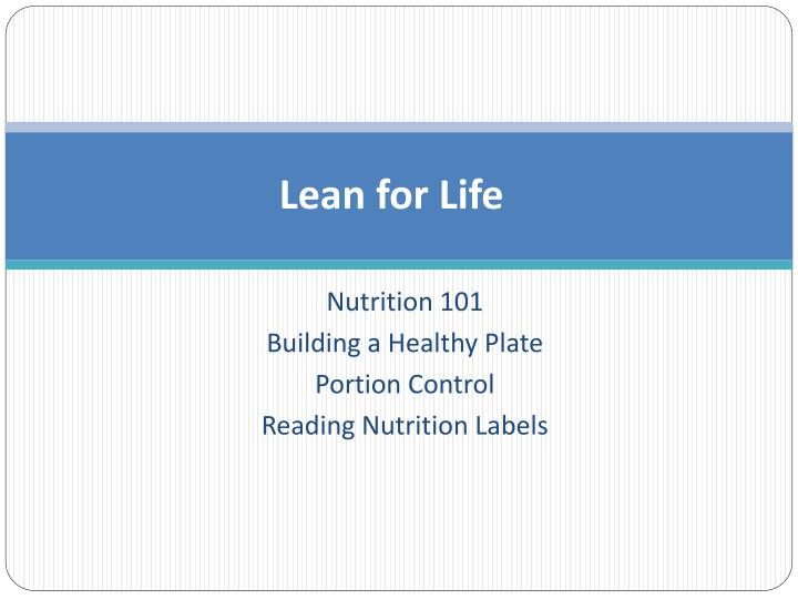 lean for life n.