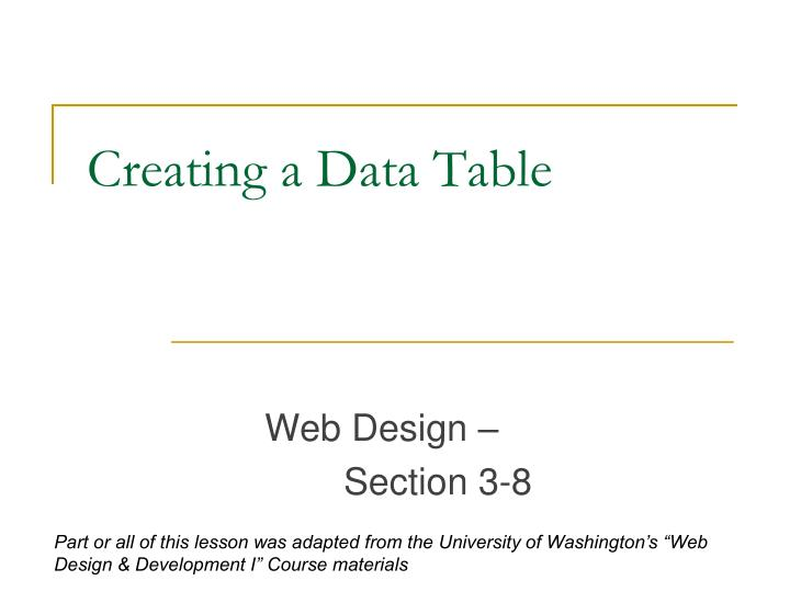 creating a data table n.