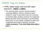 hmtl tags for tables