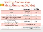 serving amounts for meat alternates m ma
