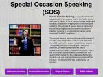 special occasion speaking sos