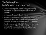 the training plan early season 4 week period