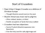 start of crusadees