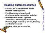 reading tutors resources