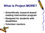 what is project more