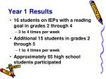 year 1 results