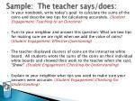 sample the teacher says does