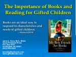 the importance of books and reading for gifted children