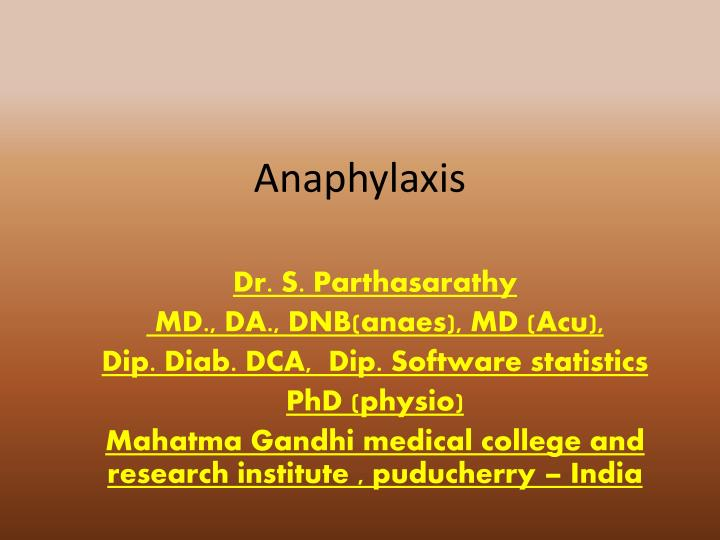 anaphylaxis n.
