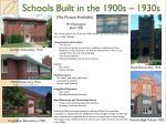 schools built in the 1900s 1930s