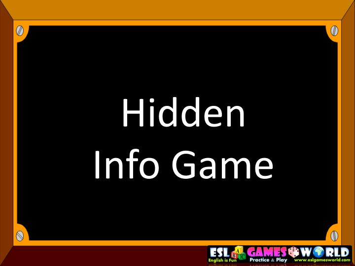 hidden info game n.