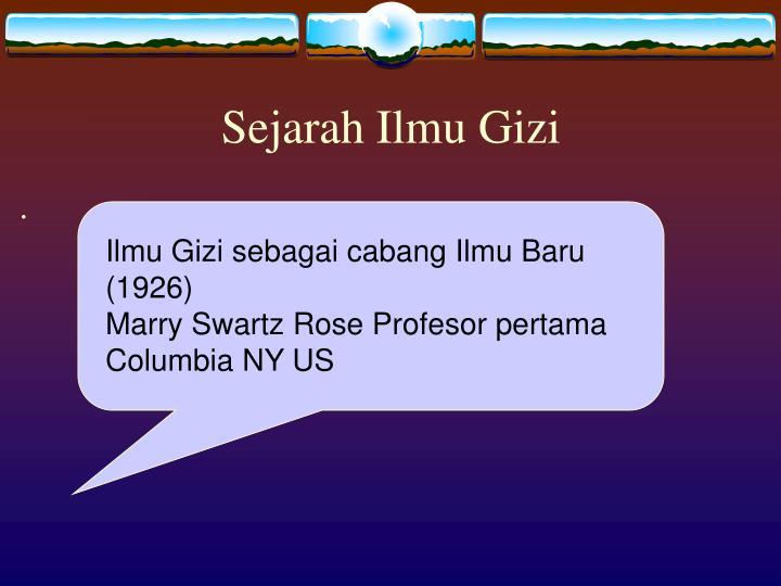 Sejarah Ilmu Gizi