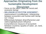 approaches originating from the sustainable development discussion