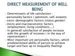 direct measurement of well being