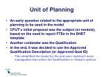 unit of planning