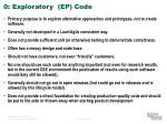 0 exploratory ep code