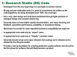1 research stable rs code