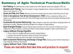 summary of agile technical practices skills